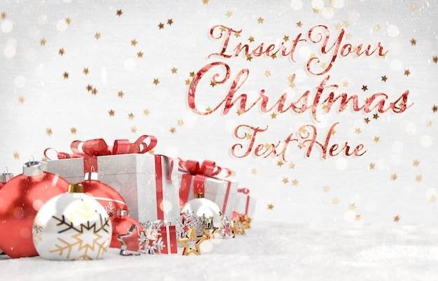Christmas card  with stars text and red decorations