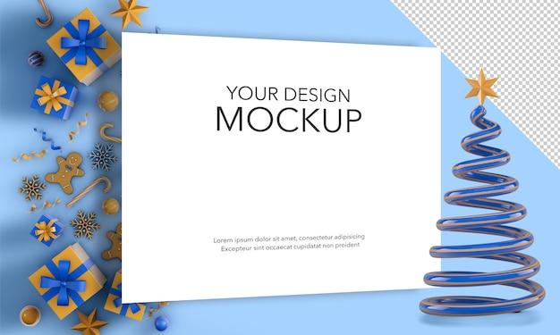 Рождественская открытка с елкой и рождественскими подарками, макет