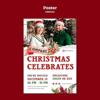 Christmas celebrating poster print template