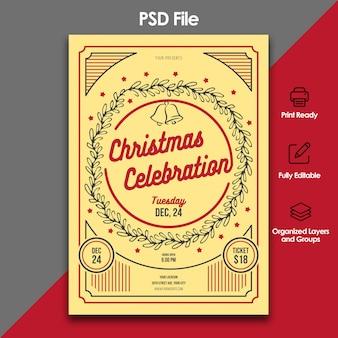Christmas celebration and invitation template
