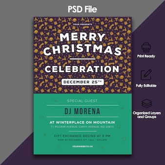 Christmas celebration and invitation template