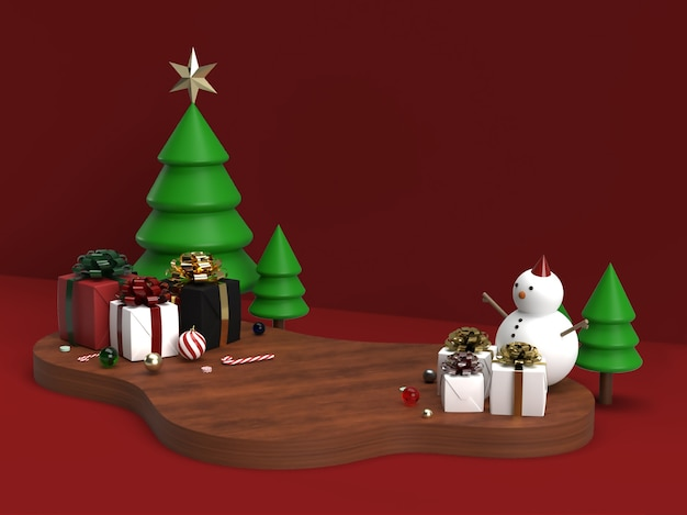 Christmas celebration and new year 3d product stage scene mockup