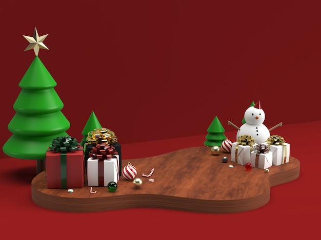 Christmas celebration and new year 3d stage scene mockup