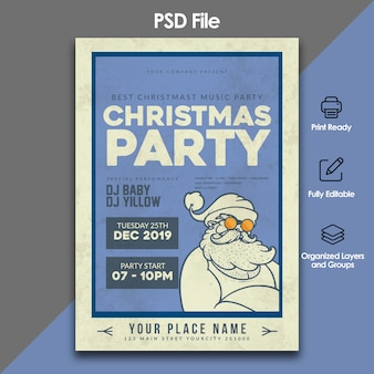 Christmas celebration and party invitation template