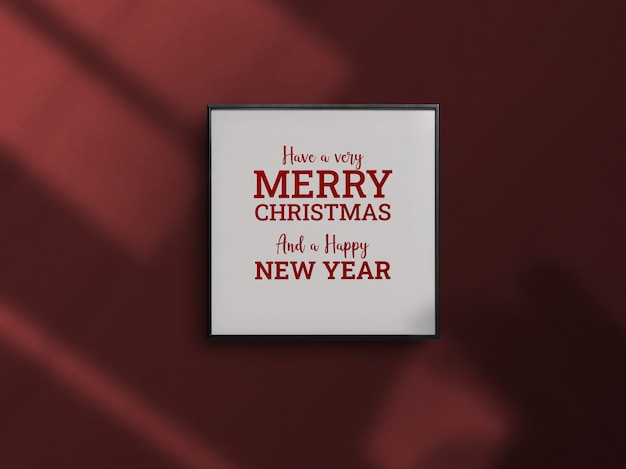 Christmas celebration wall framing drop shadow mockup