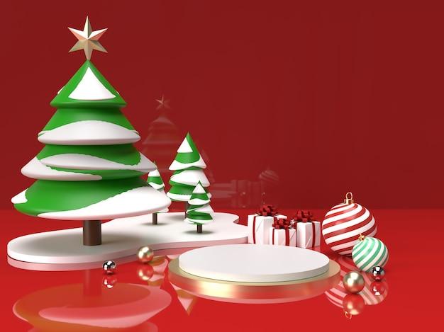 クリスマスツリー、ボール、ギフトの3d製品ステージシーンでクリスマスのお祝い