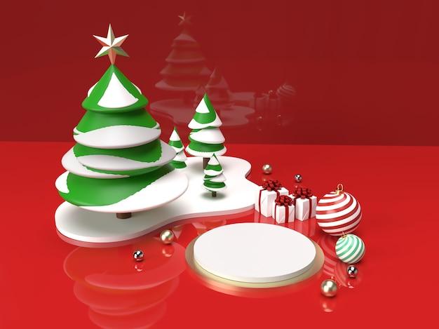 크리스마스 트리, 공 및 선물 3d 제품 무대 장면으로 크리스마스 축하