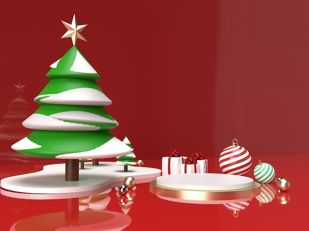 Christmas celebration with christmas tree, ball and gift 3d product stage scene