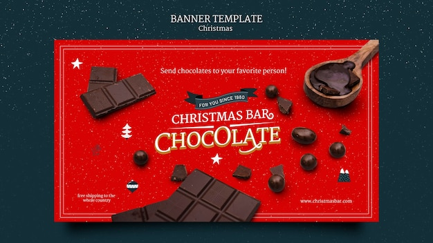 Рождественский шоколадный баннер шаблон