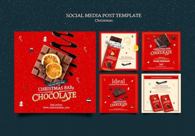 Set di post instagram di natale al cioccolato