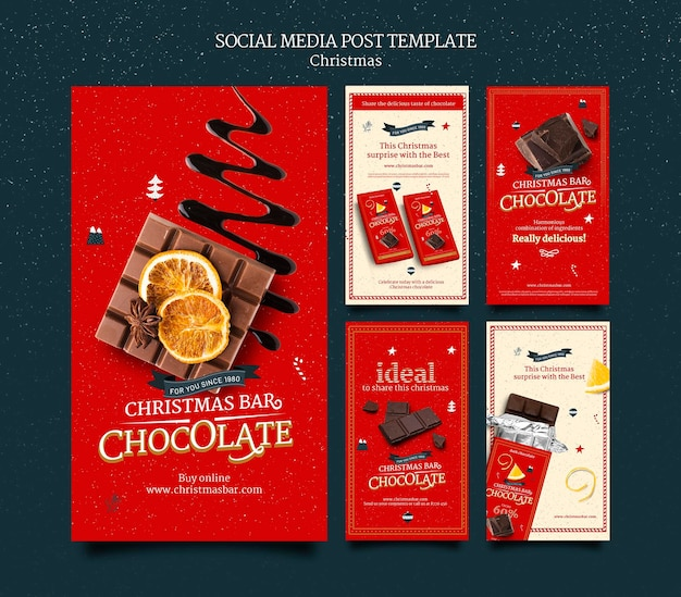 Set di storie di instagram di cioccolato di natale