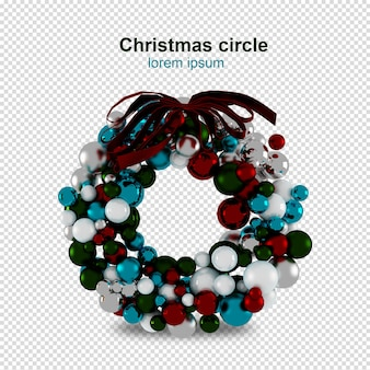 Christmas circles in 3d rendered