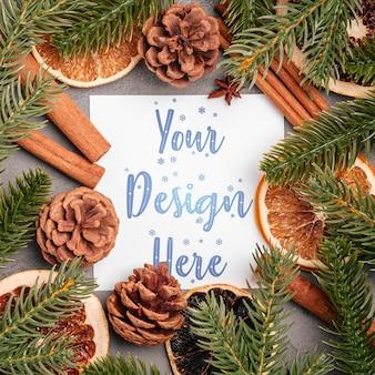 Новогодняя композиция с корицей, анисом, сухофруктами, шишками и хвоей