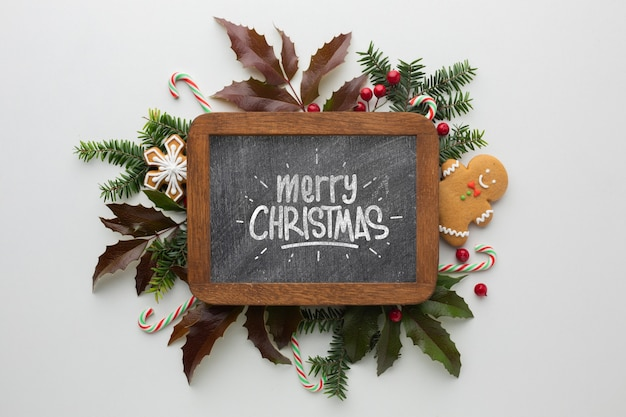 Christmas composition with lettering written on chalkboard
