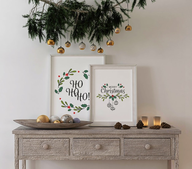 Christmas concept decoration with mockup poster frame on console table