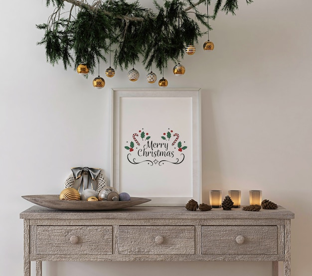 Рождественское украшение концепции с деревенской рамкой макета на консольном столе