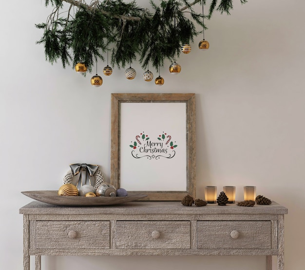 Christmas concept decoration with mockup rustic poster frame on console table