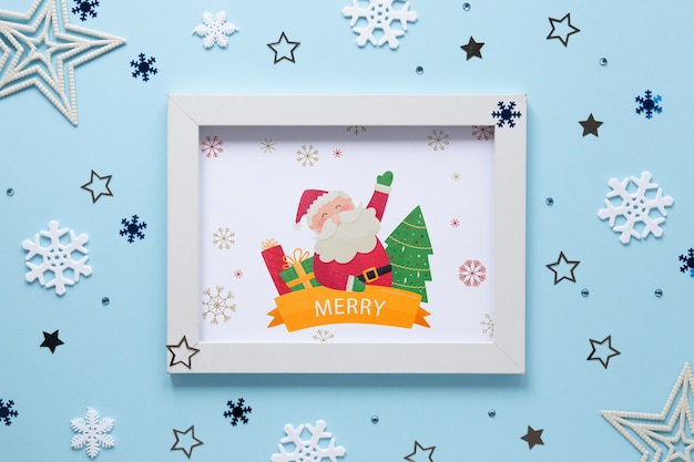 Christmas concept frame with santa claus