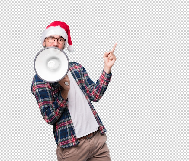 Christmas concepts - young man gesturing