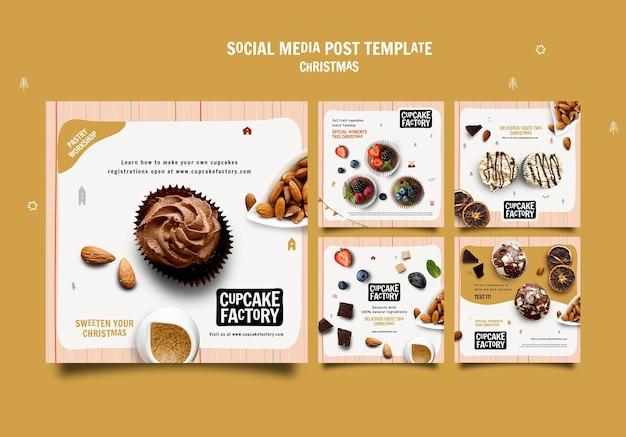 크리스마스 컵케이크 소셜 미디어 게시물