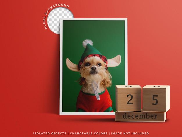 分離された休日の挨拶フレームの写真カードとカレンダーとクリスマスの日の概念のモックアップ