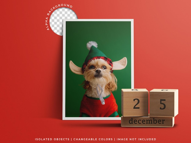 Christmas day concept mockup with holiday greeting frame photo card and calendar isolated