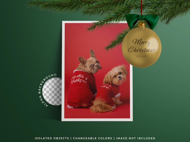 Christmas day concept mockup with holiday greeting frame poster photo card and ball toy isolated