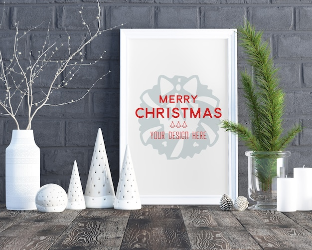 Christmas decoration accessories and picture frame mockup