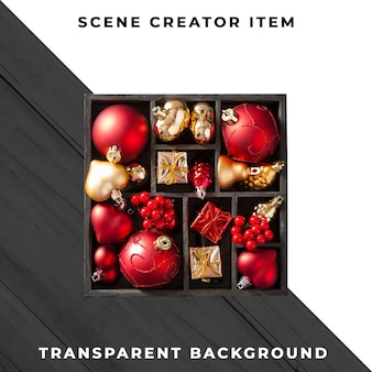 Christmas decoration box isolated with clipping path.