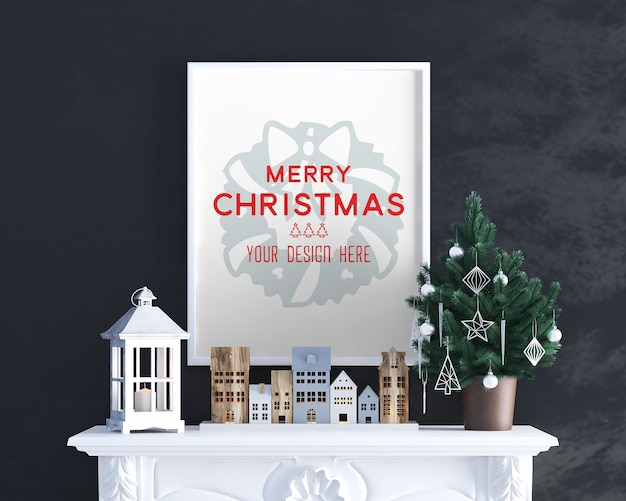 Christmas decoration on the fireplace with frame mockup
