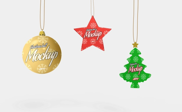 分離されたクリスマスの装飾のモックアップ