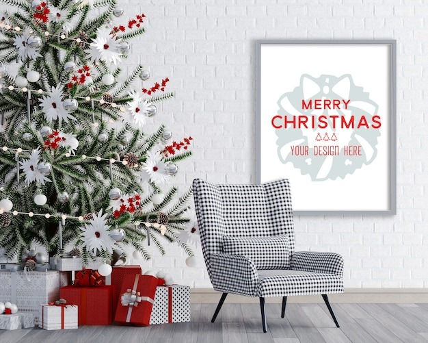 Christmas decoration in a room corner with chair and frame mockup