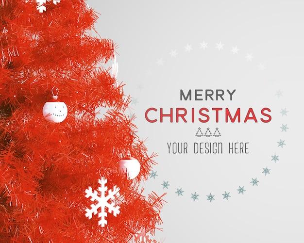 크리스마스 트리와 벽지 모형이있는 크리스마스 장식