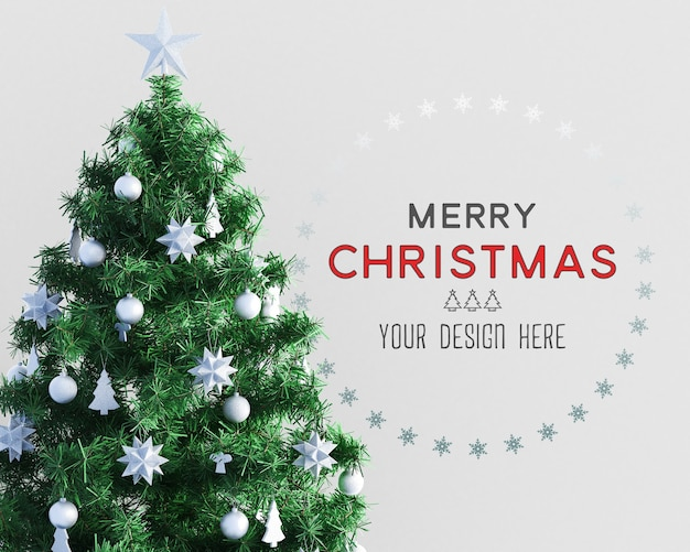 Christmas decoration with christmas tree and wallpaper mockup