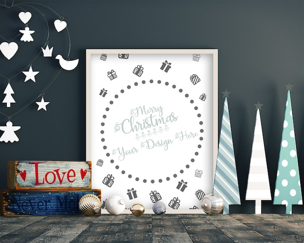 Christmas decoration with frame mockup, christmas tree and gift boxes
