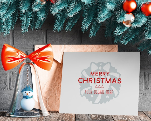 Christmas decoration with greeting card mockup