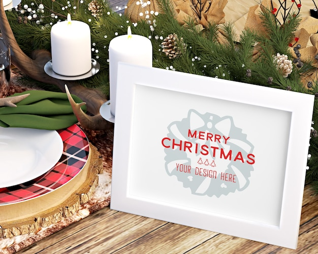 Christmas decoration with picture frame and christmas accessories on table mockup
