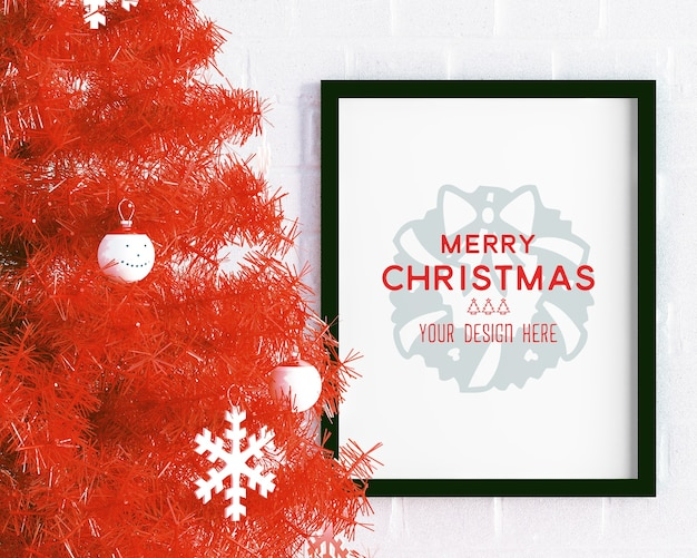Christmas decoration with picture frame mockup