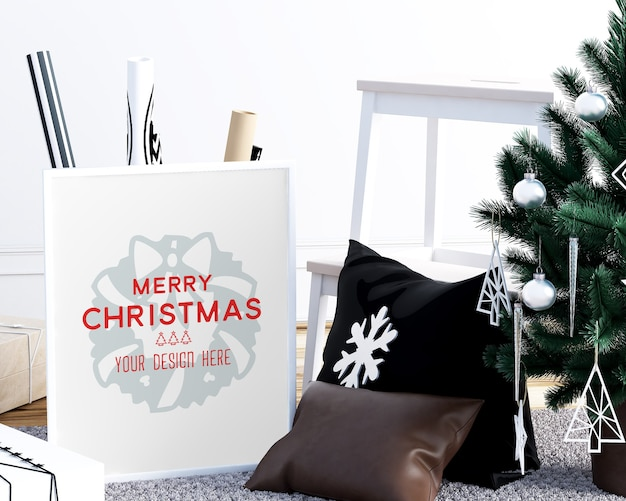 Christmas decoration with picture frames mockup and other decorative objects
