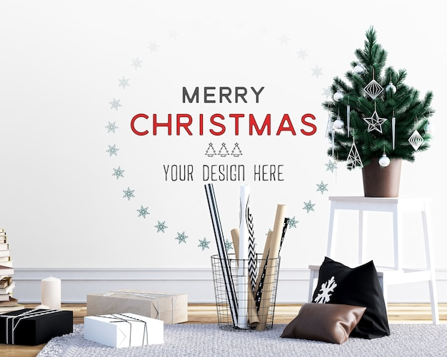 Christmas decoration with wall mockup