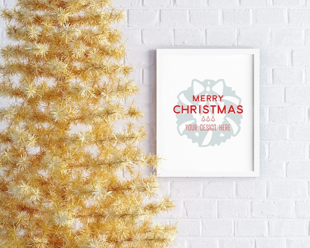 Christmas decoration with yellow christmas tree and picture frame mockup