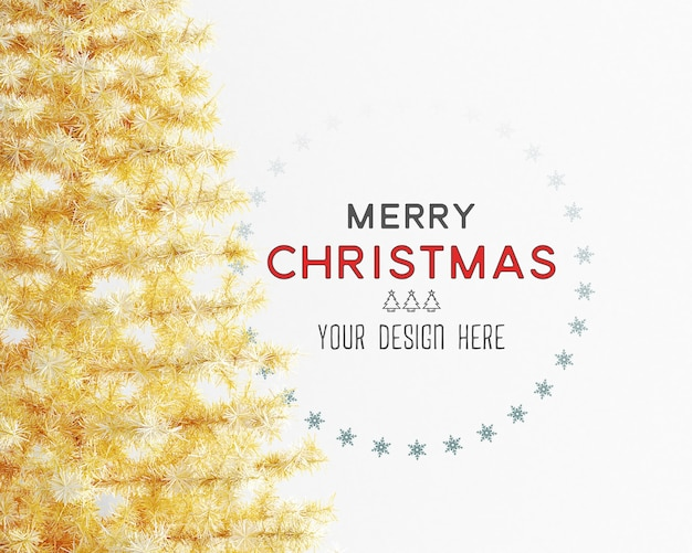 Christmas decoration with yellow christmas tree and wall mockup