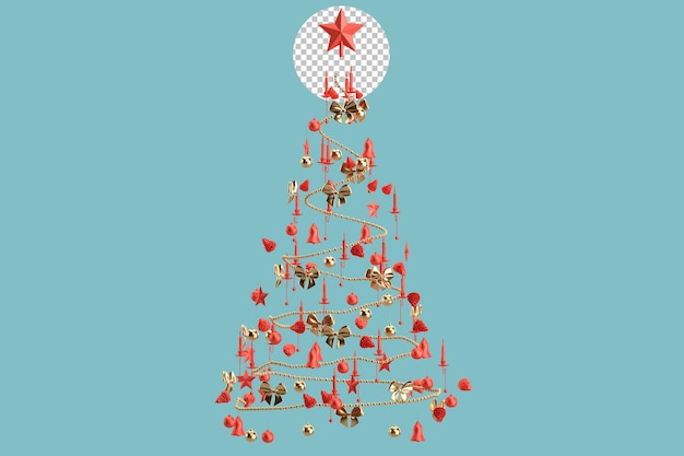 Christmas decorations form silhouette of a christmas tree. 3d rendering