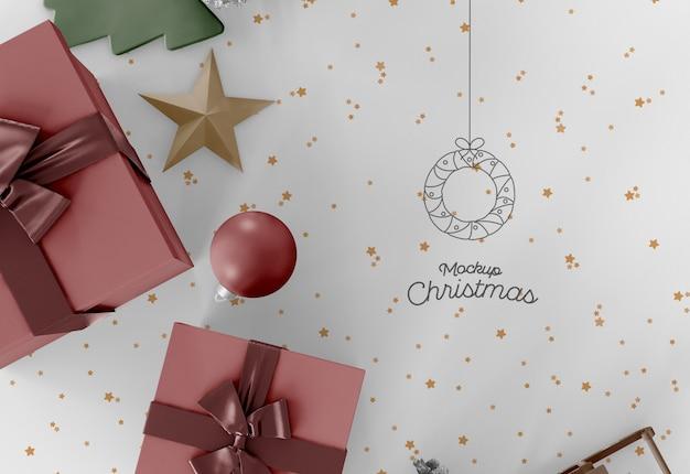 Christmas decorations on table mockup