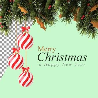 Рождественские украшения с красным шаром и сосновыми ветками в 3d иллюстрации