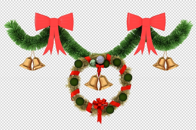 Christmas decorative wreath in 3d rendered isolated