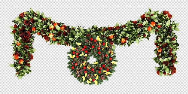 Christmas decorative wreath in 3d rendered