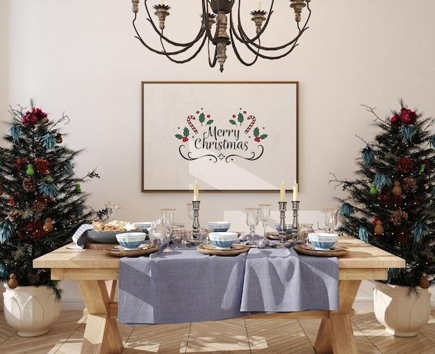 Рождественская столовая с рамкой для макета плаката и елкой