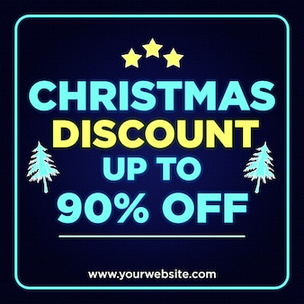 Christmas discount banner 90% off in neon style design