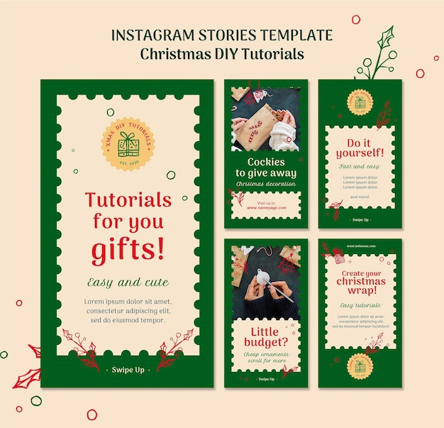 Рождественский учебник поделки instagram шаблон stoires